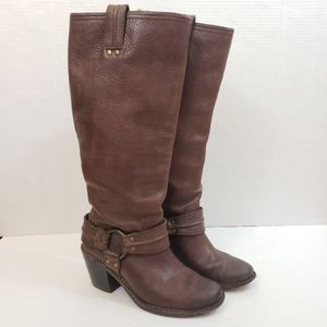Frye Carmen Harness Tall Boots Brown Leather Sz 6